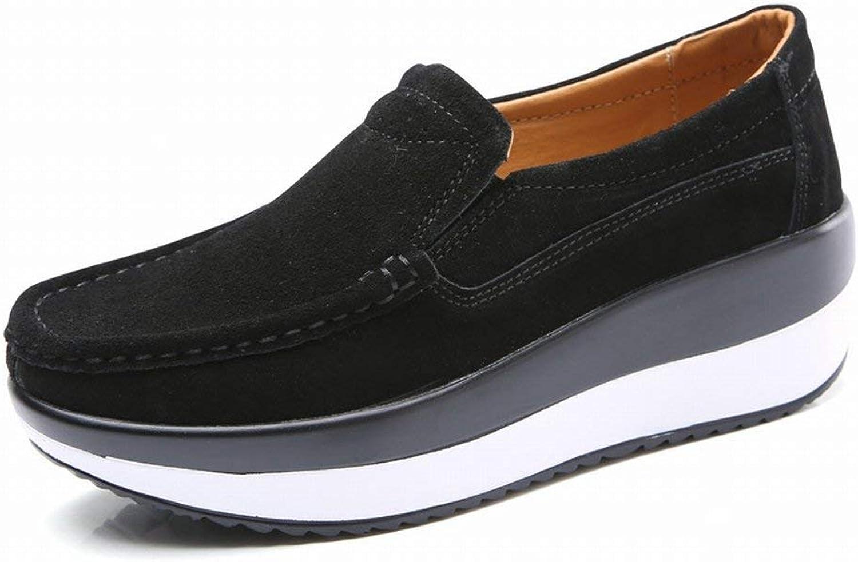 Oudan Große Größe Größe Größe Schuhe Mode Leder Muffins Schuhe Komfort All-Match Erhöhte Freizeitschuhe (Farbe   Schwarz, Größe   37)  5f4c02