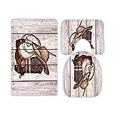 Farmhouse Grey Wooden Plank Printed Western Cowboy Boots Bathroom Rugs and Mats Sets 3 Piece, Memory Foam Bath Mat, U-Shaped Contour Shower Mat Non Slip Absorbent, Velvet Toilet Lid Cover Washable