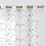 TOPICK Sheer - Cortina de voile con ojales, diseño de hojas, bordado, transparente, par de cortinas con ojales, para salón, dormitorio, decoración, color blanco y amarillo, 130 x 175 cm (cm)