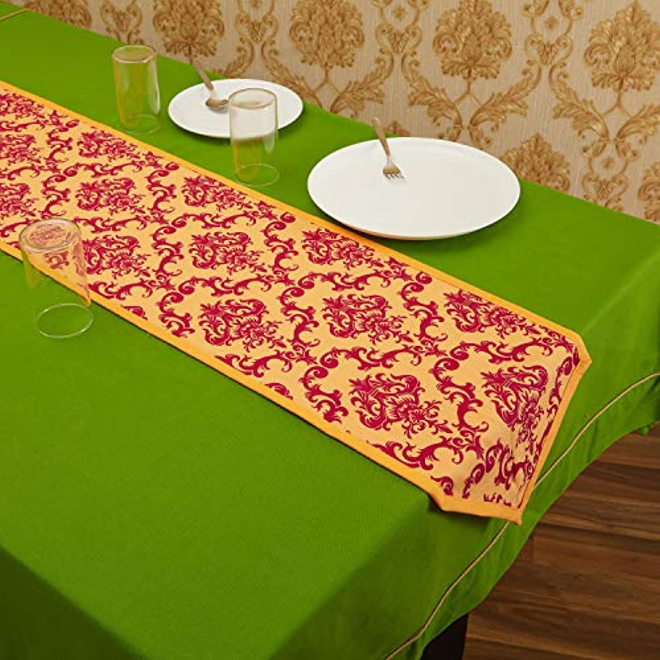 In-Sattva Home Bohemian Signature Print Table Runner and Dresser Scarves for Family, Get-Togethers and Everyday Use; Rust; 13 X 72