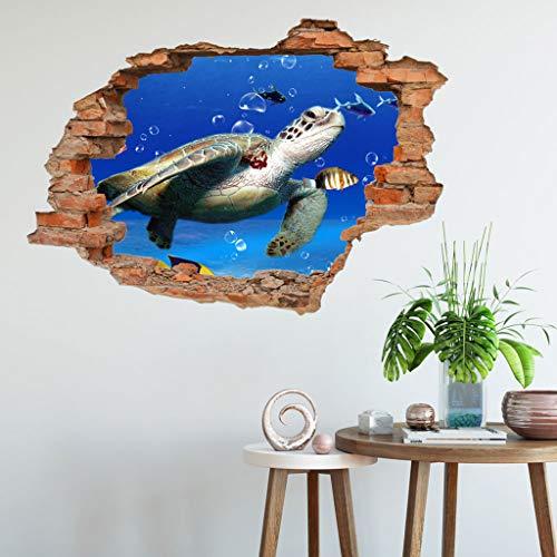 Wandtattoo Sticker 3D Effekt | Wandaufkleber - Palmenstrand Wasserlebewesen Tapete Dekoration optische Täuschung Raum und Wohnzimmer Removable Art Wohnzimmer Dekore Aufkleber