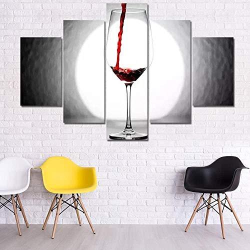 YFFSUN Obra de Arte para Paredes del hogar Imágenes de Vino Tinto y Luna Llena para Sala de Estar Impresiones Modernas de múltiples Paneles Arte de Pared sobre Lienzo Arte de Pared
