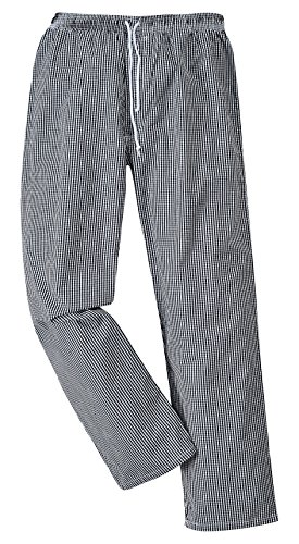 Portwest C079CKRL Pantaloni Bromley da Chef, Bianco/Nero, Large