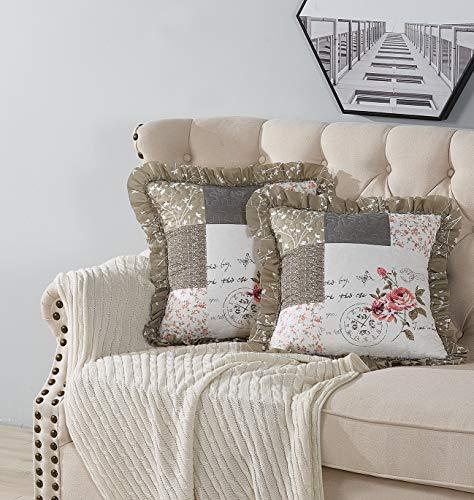 Brilliant Sunshine Rose and Toile - Set di 2 federe per cuscino trapuntate con volant per divano letto, 18 x 18 / 45 x 45 cm, confezione da 2, colore: marrone chiaro