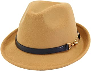Jazz Hat Women Men Fedora Hat with Leather Belt Elegant Lady Wool Party Hat (Color : Coffee, Size : 56-58)