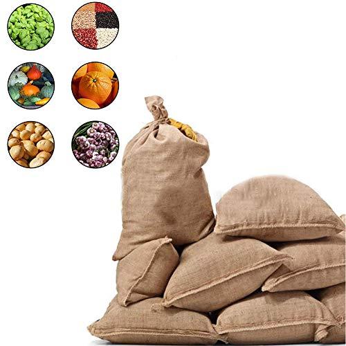 ANQI 2er Pack rustikale Jutebeutel Kartoffeln Aufbewahrungsbeutel - Sackleinen Gemüse Kartoffelbeutel Ideal für Küche/Bauernhof, Ökobeutel für Kartoffeln/Zwiebeln/Gemüse