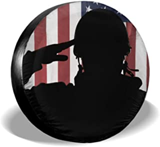 ENEVOTX American USA Soldier Saluting USA Flag Spare Tire Cover Spare Tire Protector Tire Cover Waterproof Uv Sun 14 - 17 Fit for Jeep Trailer Rv SUV and Many Vehicle
