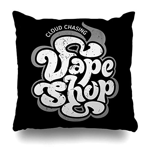 fael Throw Pillow Cover Handdrawn Smoke Vape Vintage Vapor Graphic Alternative Analog Artistic Atomizer Decorative Pillow Case 16x16 Inches Square Home Decor Pillowcase 16X16in