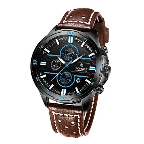 Flytise Reloj clásico de Cuarzo para Hombre Reloj de Pulsera cronógrafo analógico con Calendario 3ATM Reloj Deportivo multifunción Resistente al Agua Correa de Cuero