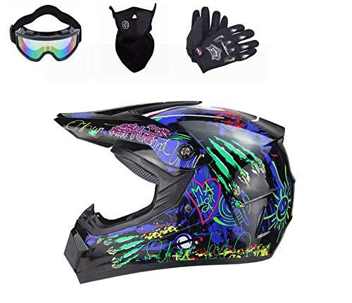 BDUCK Motorradhelm Motocross Helm, Downhill Helme,Motorrad Crosshelme & Endurohelme, Unisex Schutzhelm ATV Helm,mit Brille/Handschuhe/Maske (S)
