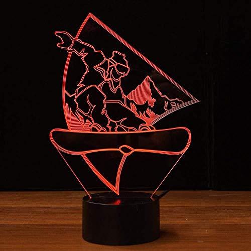3D Nachtlicht Snowboard ara 7 Farben ändern Touch Desk Lampe für Kinder Geburtstag Weihnachtsgeschenke