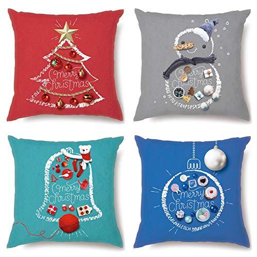 JOTOM Juego de 4 fundas de cojín decorativas de Navidad supersuaves para sofá, dormitorio, decoración de Navidad, 45 x 45 cm