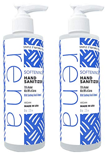 Rena Softening Hand Sanitizer - Made in the USA and Vegan – 75% Alcohol with Aloe and Vitamin E – 8 Ounce (Pack of 2)