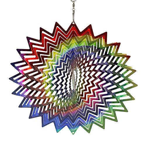 Garden Wind Spinner Metall 3D Wind Spinner Indoor Outdoor Gartendekoration Kunsthandwerk Ornament Metall Magic Wind Handbemalte Rotierende Anhänger Helle Spiegeldekoration