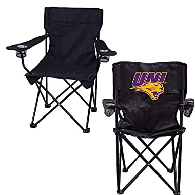 VictoryStore Outdoor Camping Chair - University of Northern Iowa Panthers Black Folding Camping Chair with Carry Bag
