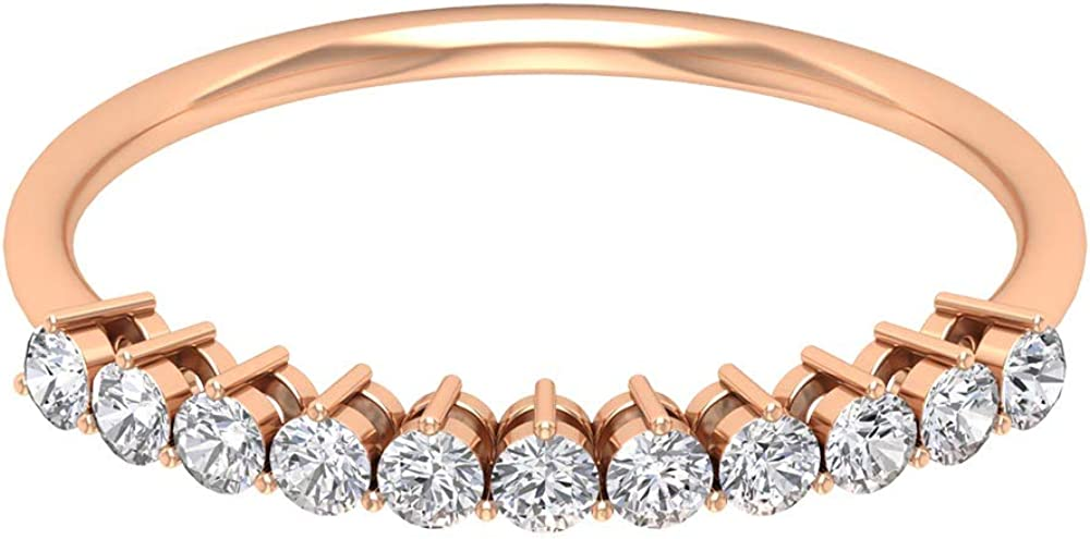 Dainty Half Eternity Ring, 0.33 Ct Round Diamond Ring, Modern Wedding Ring, Bridesmaid Layering Ring, Promise Ring, Women Anniversary Ring, 14K Solid Gold