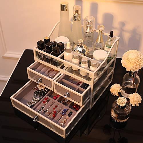 Caja de Almacenamiento de Cosméticos Cosméticos Caja de almacenamiento Caja de almacenamiento de escritorio del lápiz labial del maquillaje Organizador con 2 cajones for barras de labios joyería para
