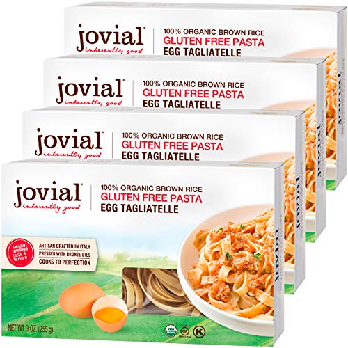 Jovial Egg Tagliatelle Gluten-Free Pasta | Whole Grain Brown Rice Egg Tagliatelle Pasta | Lower Carb | Kosher | USDA Certified Organic | Made in Italy | 9 oz (4 Pack)