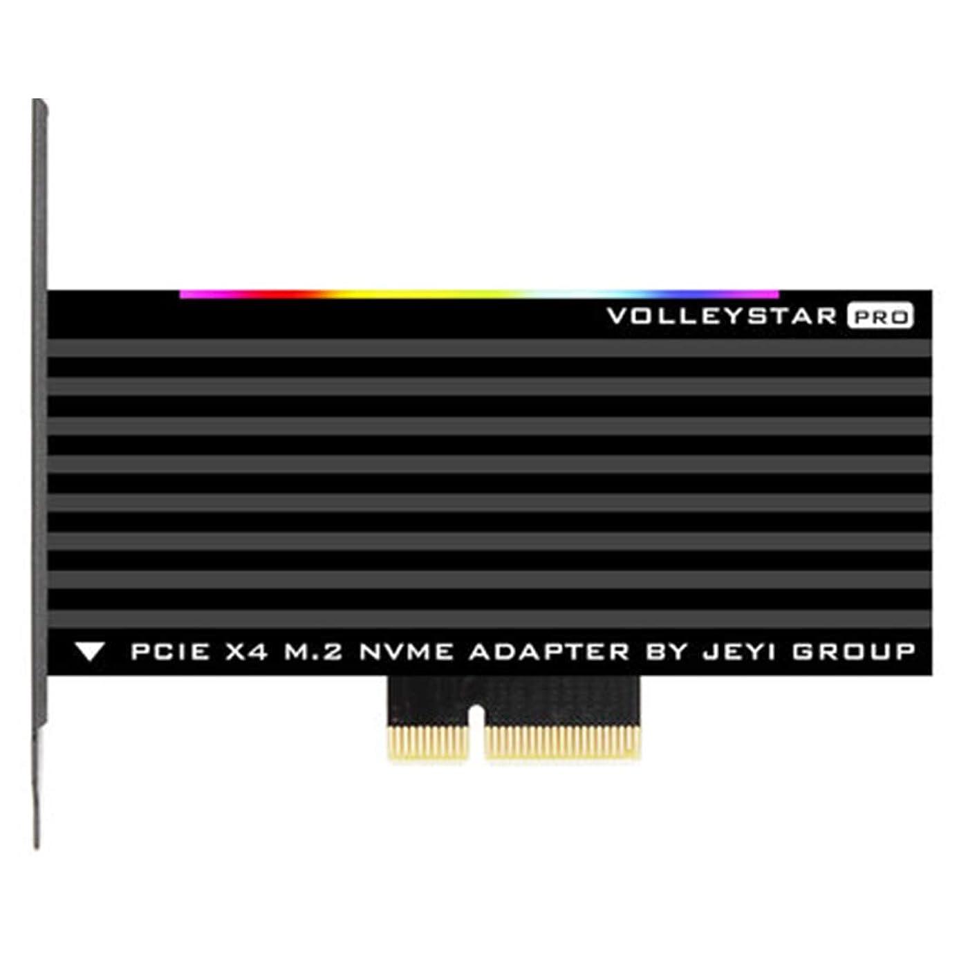 JEYI VolleyStar-PRO Black Heat Sink Heatsink M.2 NVMe SSD NGFF to PCIE X4 Adapter MKey Port Card PCI-E 3.0 x4 Full Speed RGB LED (Black)