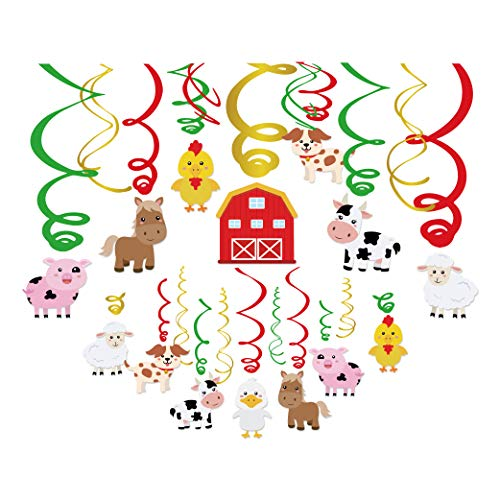 Anor Wishlife 30Ct Farm Animals Hanging Swirl Decorations,Farm,Barnyard,Cow Theme Party for Toddler,Girls,Boys,Kids,Home,Classroom,Bedroom,Baby Shower
