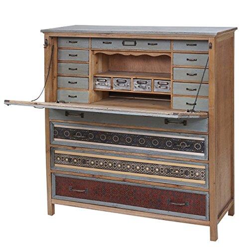 Mendler Sekretär HWC-A43, Kommode Schrank, Tanne Holz massiv Vintage Patchwork 113x99x36cm