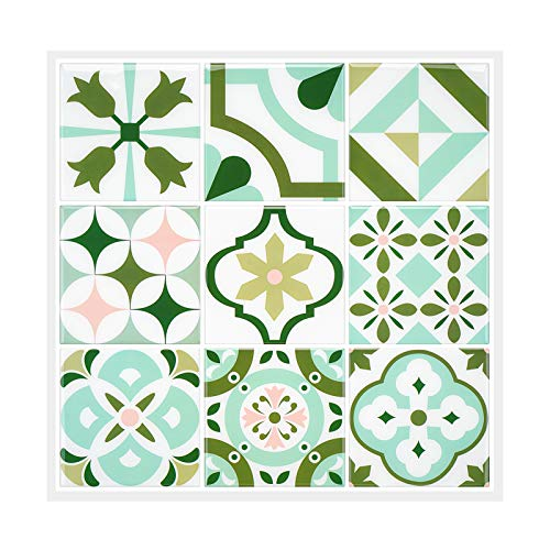 MORCART Fliesenaufkleber Selbstklebende Klebefolie Wunderschön Grün Barock-Mosaik Wandfliese Aufkleber, 3D-Aufkleber auf Bodentrepp, Küchen schränke, Badezimmer, Kamin (12 Stück, 30,5 x 30,5 cm)