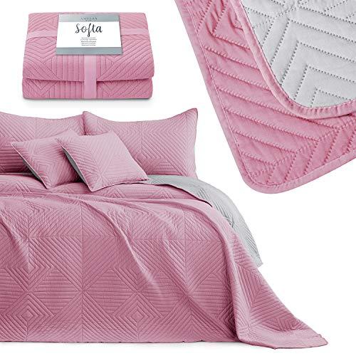 AmeliaHome Tagesdecke rosa grau 240x260 Bettüberwürf zweiseitig Ultrasonic Steppung Polyester Softa