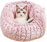 Rcsinway Cama redonda para mascotas, cama redonda para mascotas, cama para mascotas, súper suave, cálida y cálida, para gatos, de felpa suave y cómoda para dormir en invierno (tamaño S, color: rosa)