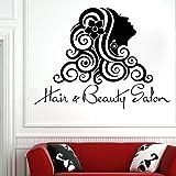 HNXDP Hair Salon Tatuajes de pared Moda Chica Peluquería Salón de belleza Decoración de pared Tijeras Peine Vinyl Decal Sticker Art Mural Decals 30 púrpura 76x57cm