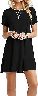 Casual para Mujer Plain ajuste Flowy Simple Swing playera floja vestido de túnica, Negro, M, 1