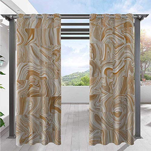 Blackout Curtains Decorative Vintage Marble Stone Patterns with Irregular Dimensions Image Waterproof Sun Light Blocking Curtain for Patio Door Pergola Christmas Decoration Tan Cream W84 x L96 Inch