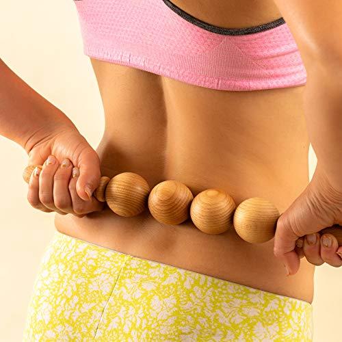 Tuuli Accessories Anti Cellulite Kugel Massage Massagegerät Massageroller Roller mit Griff Maderotherapie aus Holz