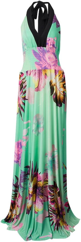 Women Deep Vneck Halter Floral Print Backless Bohemian Maxi Dress