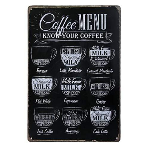 HEALLILY Coffee Menu Poster Retro Metal Bar Pub Cartel de Chapa Decoración de La Pared para El Café Corner Cafe Kitchen