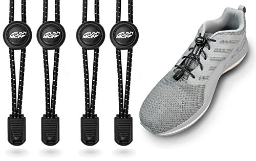 Rush Lace - Elastische Schnürsenkel mit Schnellverschluss aus Gummi - für Erwachsene, Kinder, Senioren geeignet, Sport, Triathlon, ohne Schuhe binden! (schwarz, 2 Paar)