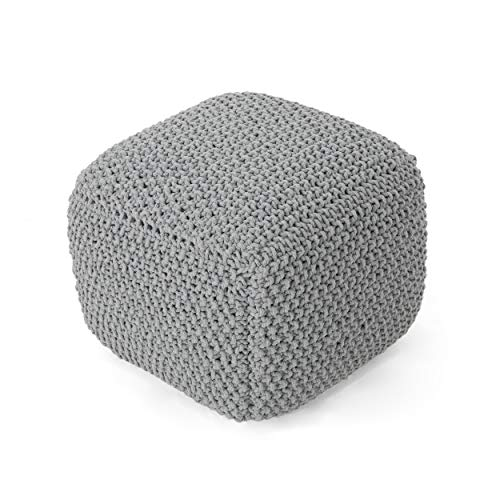 Christopher Knight Home Teresa Knitted Cotton Square Pouf, Light Grey