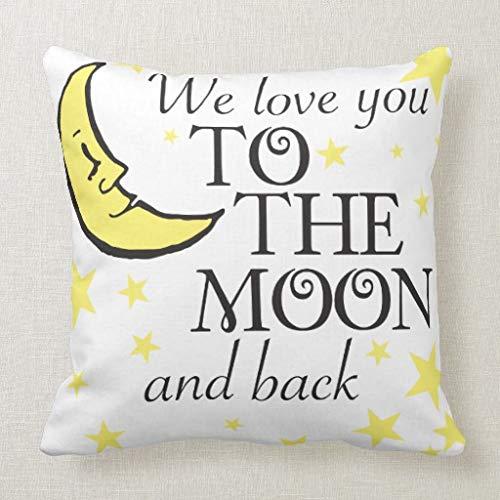 qidushop We Love You To The Moon and Back - Funda de cojín para sofá y sofá (45 x 45 cm)