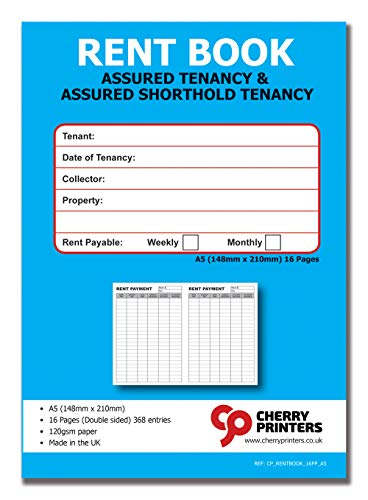 Cherry Tenants Rent Book - Assured Tenancy & Assured Shorthold Tenancy - Weekly/Monthly A5 16pages