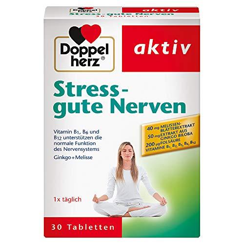 Doppelherz Stress - gute Nerven – Nahrungsergänzungsmittel mit den Vitaminen B1, B2, B6 und B12 für die normale Funktion des Nervensystems – Mit Ginkgo & Melisse – 1 x 30 Tabletten