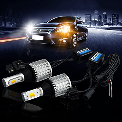 SOCAL-LED 2x T20 7440 LED Bulb Switchback Extremely Bright 30W 3000LM COB High Power DRL Turn Signal Light Kit, Canbus Error Free LED Decoder Resistor, White/Amber