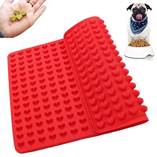 255 Cavity Pet Treats Pan Dog Mini Heart Shaped Silicone Mold for Cookies Pet Treats Baking Mold Small Dot Cake Decoration Silicone Baking Mat Cooking Sheets (Heart)