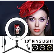 Harmonic 10'' Selfie Ring Light with Tripod Stand,Ring Light with Cell Phone Holder,LED Make Up Light with 3 Light Modes and 11 Brightness Level for Camera,Smartphone,YouTube Video,Live Streaming