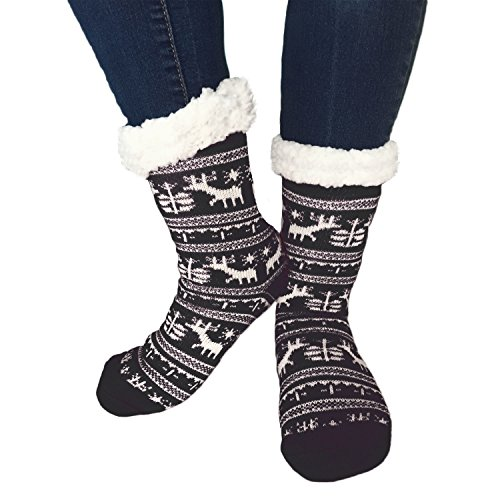 TOSKATOK Ladies Girls Fairisle Christmas Slipper Socks with Cosy soft fleece lining