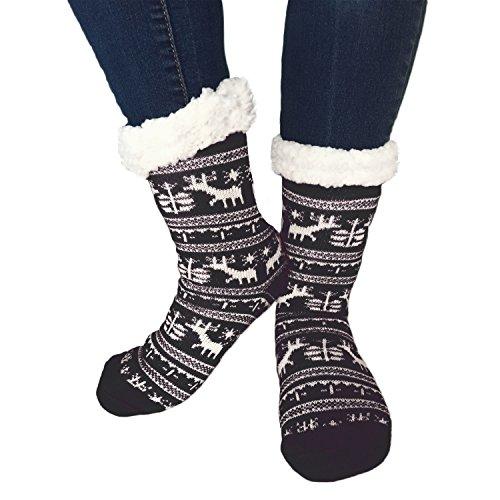 TOSKATOK® Damen Mädchen Fairisle Weihnachten Slipper Socken Stoppersocken mit Cosy weichem Fleecefutter