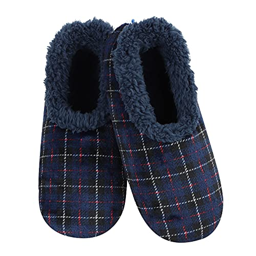 Snoozies Mens Velour Plaids - Mens Slippers - Navy - Large