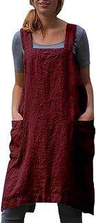 SAMGU Vestido De Delantal Casual para Mujer Vestido De Lino con Delantal Cruzado Cuadrado De Lino Trabajo En El Jardín