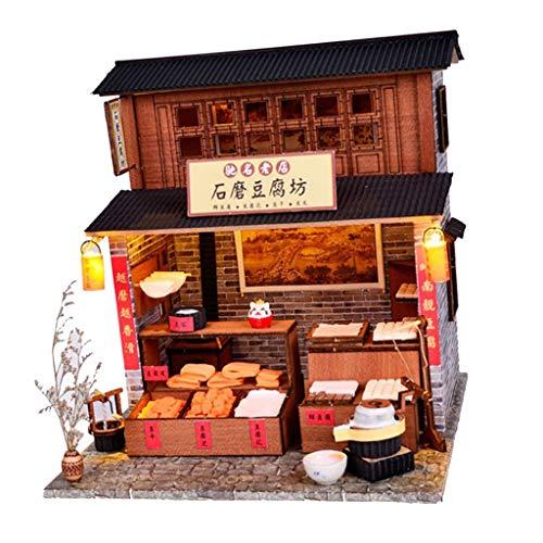 P Prettyia 1:24 DIY Alte China Tofu Laden Puppenhaus Puppenstuben Kinder Spielzeug Geburtstagsgeschenk