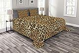 ABAKUHAUS Braun Tagesdecke Set, African Leopard-Druck, Set mit Kissenbezügen Moderne Designs, für Doppelbetten 220 x 220 cm, Braun