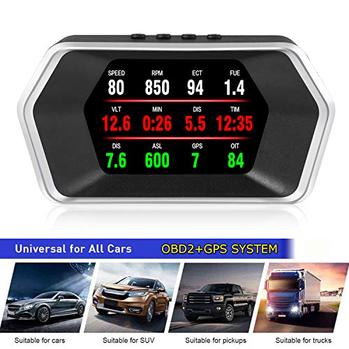 4' Última versión Cabezal de Pantalla HUD alto OBD2 GPS Sistema Velocímetro Doble Kilometraje Flujo Datos Alarma Velocidad Excesiva Temperatura Agua/Presión Turbina Compatible Con Todos Los Vehículos