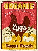 レトロな錫看板チキンポスター新鮮な卵健康農場食品レトロな金属看板、ガレージホームバーカフェルームバスルームアートウォール装飾ポスター12x8インチ